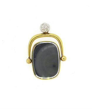thumbnail image of Unusual Artisanal Diamond 18k Gold Mirror Fob Pendant