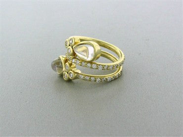 thumbnail image of New Temple St. Clair Mummy 18K Gold Diamond Moonstone Ring