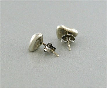 thumbnail image of Estate Tiffany & Co Elsa Peretti Full Heart Sterling Silver Earrings