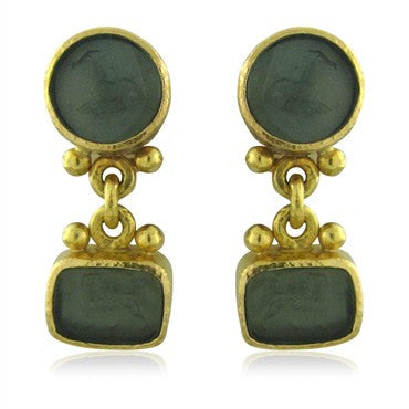 image of Elizabeth Locke 19K Gold Intaglio Glass Drop Earrings