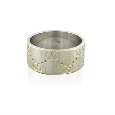 image of Estate Gucci Icon 18K White Gold Band Ring