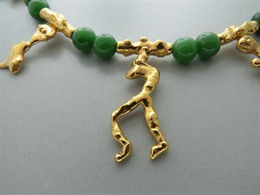 image of Jean Mahie 22k Gold Nephrite Bead Necklace