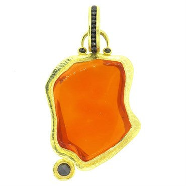 image of Hughes Bosca Unusual Jelly Opal Black Diamond 18k Gold Large Pendant