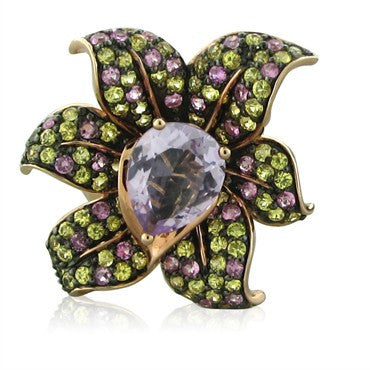 image of New Levian Le Vian 14K Rose Gold Amethyst Multi Color Sapphire Flower Ring