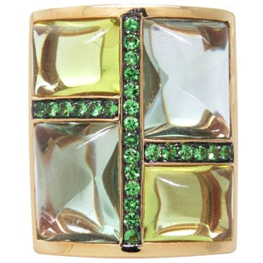 image of Modern Multi Color Stones Demantoid Garnet Ring