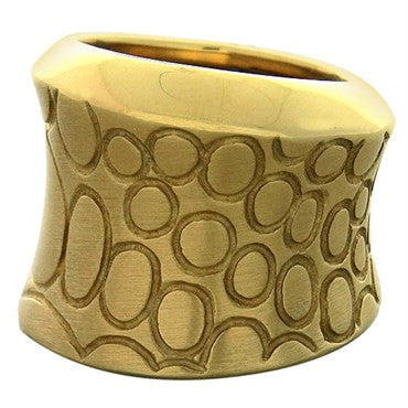 image of New Pomellato Cocco 18k Gold Wide Band Ring