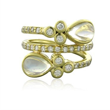 image of New Temple St. Clair Mummy 18K Gold Diamond Moonstone Ring