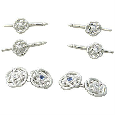image of Trianon Diamond Sapphire Gold Cufflink Stud Dress Set