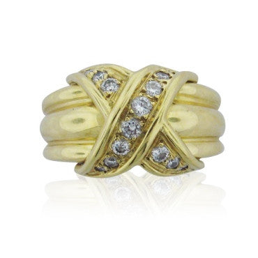 thumbnail image of Estate Tiffany & Co. Signature 18k Gold Diamond Ring