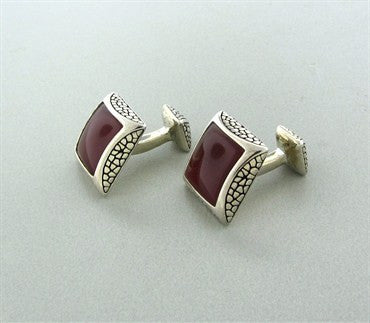 thumbnail image of Stephen Webster Sterling Silver Carnelian Cufflinks