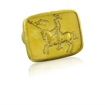image of New Gurhan 24k Gold Large Knight On Horse Glass Crystal Ring