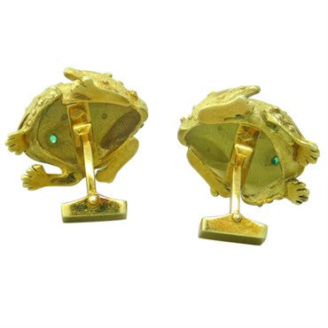 image of 1970s Emerald 18K Gold Frog Cufflinks