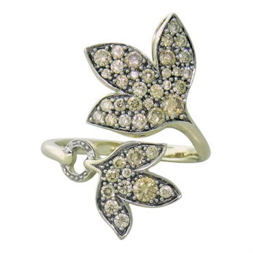 image of H. Stern 18K Gold Diamond Leaf Bypass Ring