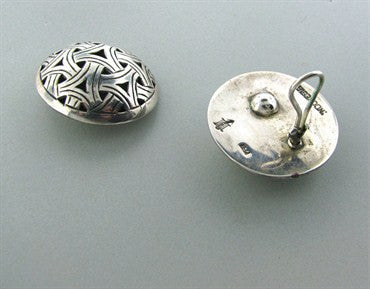 image of Estate John Hardy Sterling Silver Large Round Earrings