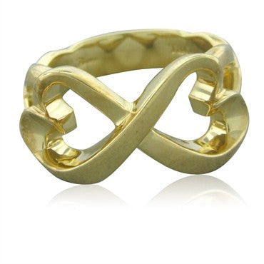image of Vintage Tiffany & Co Paloma Picasso 18K Yellow Gold Loving Hearts Ring