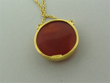 thumbnail image of New Gurhan 24K Yellow Gold Carnelian Taurus Zodiac Pendant Necklace