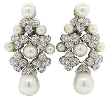 image of Impressive Pearl Diamond Gold Large Earrings