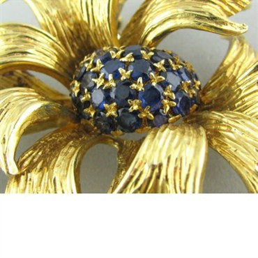 image of Tiffany & Co Vintage 1970s 18k Gold Sapphire Brooch Pin
