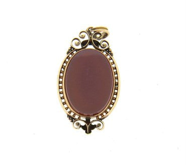 thumbnail image of Antique Victorian 14k Gold Hardstone Cameo Pendant