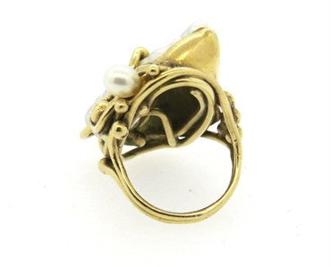 thumbnail image of Large Naturalistic Pearl 14k Gold Large Ring