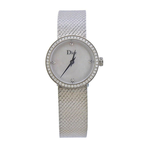 image of Dior La D de Dior Satine Mother of Pearl Diamond Watch CD047111M001