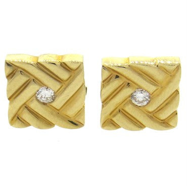 image of Fortunoff Diamond 14k Gold Cufflinks
