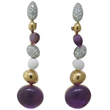 thumbnail image of Roberto Coin Amethyst Cabochon Diamond Gold Long Drop Earrings
