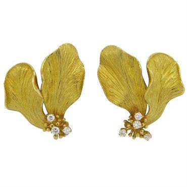 thumbnail image of Tiffany & Co. Diamond 18k Gold Flower Earrings