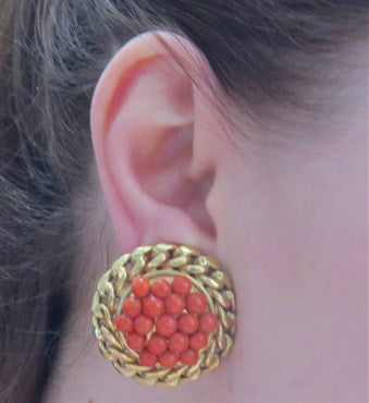 image of Large Coral Gold Earrings