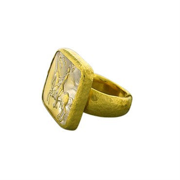 thumbnail image of New Gurhan 24k Gold Large Knight On Horse Glass Crystal Ring