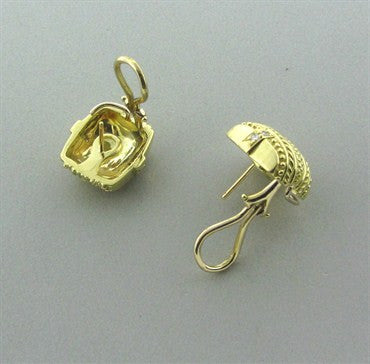 thumbnail image of Judith Ripka 18K Yellow Gold Diamond Earrings