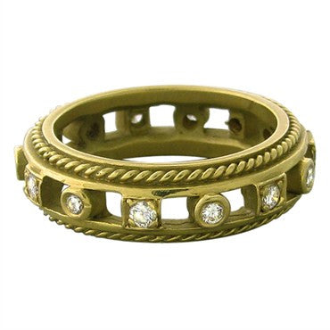 image of Estate Penny Preville 18K Yellow Gold Diamond Band Ring