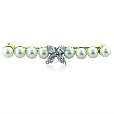 image of Estate Tiffany & Co Victoria Platinum 18k Gold Diamond Pearl Brooch