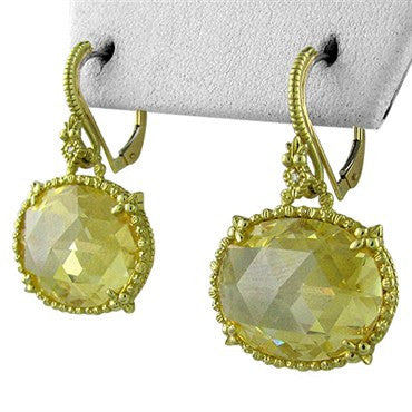 thumbnail image of Large Judith Ripka 18K Gold Diamond Canary Crystal Earrings