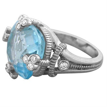 thumbnail image of Judith Ripka 18k White Gold Blue Topaz Diamond Ring