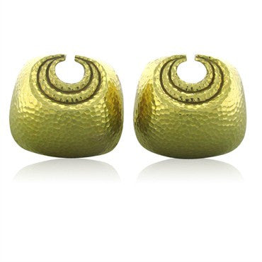 image of David Webb Yellow Hammered Gold Clip Earrings