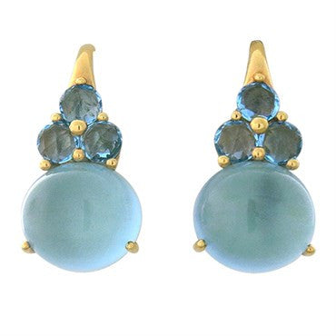image of New Pomellato Luna 18K Gold Blue Topaz Earrings