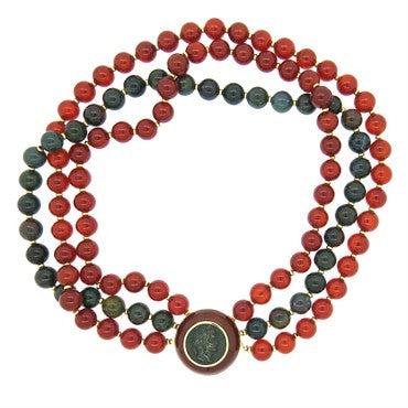 thumbnail image of Trianon Bloodstone Carnelian Bead Necklace