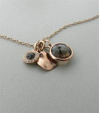 image of Ippolita Rose Sterling Smokey Quartz Diamond Pendant Necklace