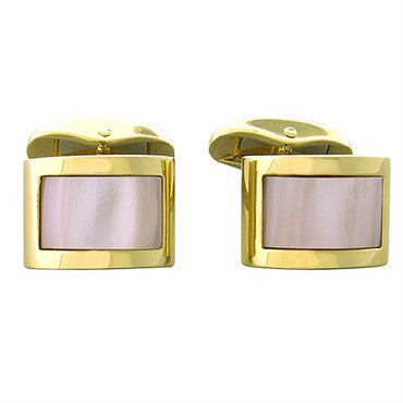 image of New Victor Mayer Faberge Maker 18K Gold Mother Of Pearl Cufflinks