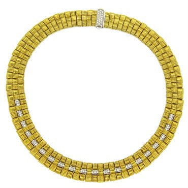image of Impressive Roberto Coin Appassionata Gold Diamond Three Row Necklace