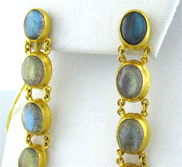 thumbnail image of New Gurhan 24K Gold Labradorite Drop Earrings