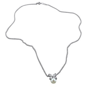 thumbnail image of Tiffany & Co Victoria Platinum Diamond Pearl Pendant Necklace