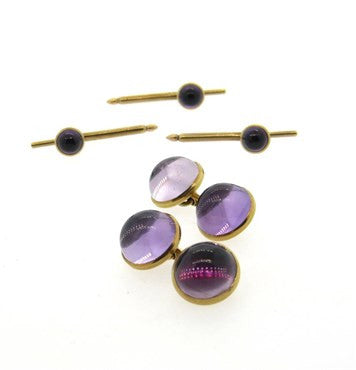 thumbnail image of 1970s Amethyst Cabochon 14k Gold Cufflinks Stud Dress Set