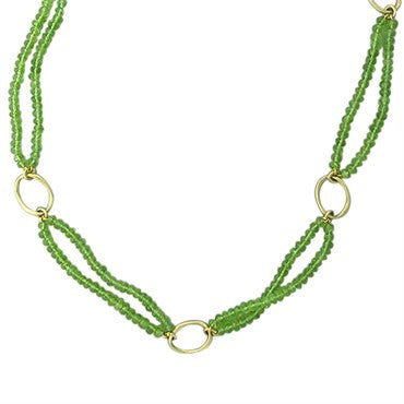 thumbnail image of Slane & Slane 18K Yellow Gold Peridot Oval Link Necklace