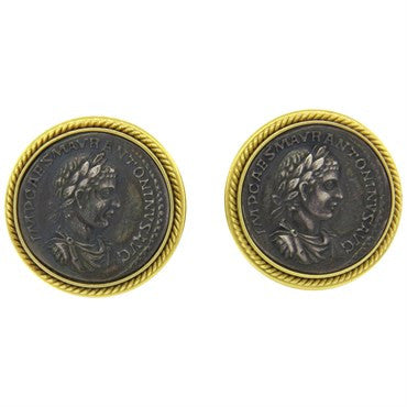 image of Ancient Coin 18k Gold Earrings