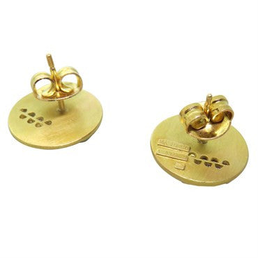 image of Masriera 18k Gold Diamond Enamel Stud Earrings