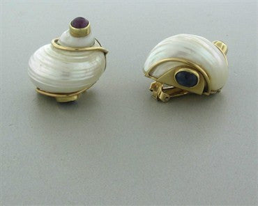 thumbnail image of Seaman Schepps 14K Yellow Gold Ruby Sapphire Cabochon Shell Earrings