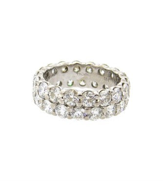 image of Hearts On Fire Double Row 3.50ctw Diamond Gold Eternity Wedding Ring