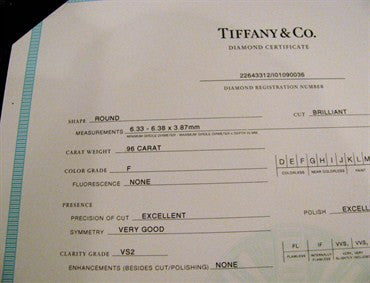 thumbnail image of Tiffany & Co Platinum 0.96 F VS2 Diamond Engagement Ring